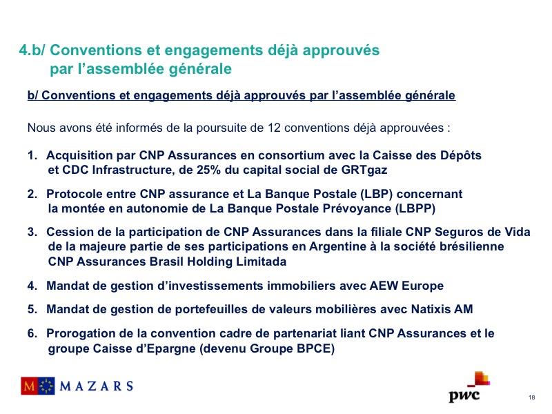 Conventions et engagements déjà approuvés par l'assemblée générale (1)