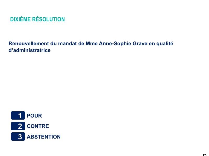 Dixième résolution<br>Renouvellement du mandat de Mme Anne-Sophie Grave en qualité d'administratrice
