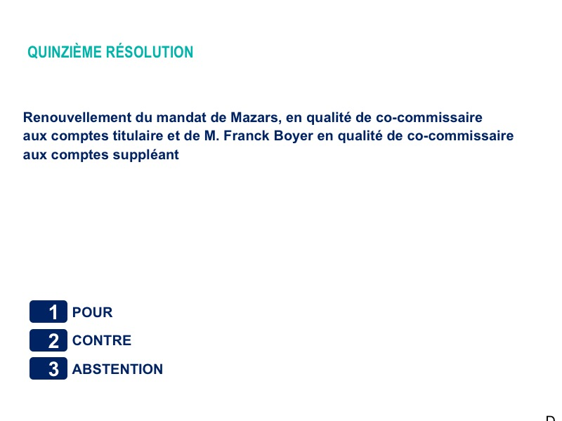 Quinzième résolution<br>Renouvellement du mandat de Mazars, en qualité de co-commissaire aux comptes titulaire et de M. Franck Boyer en qualité de co-commissaire aux comptes suppléant