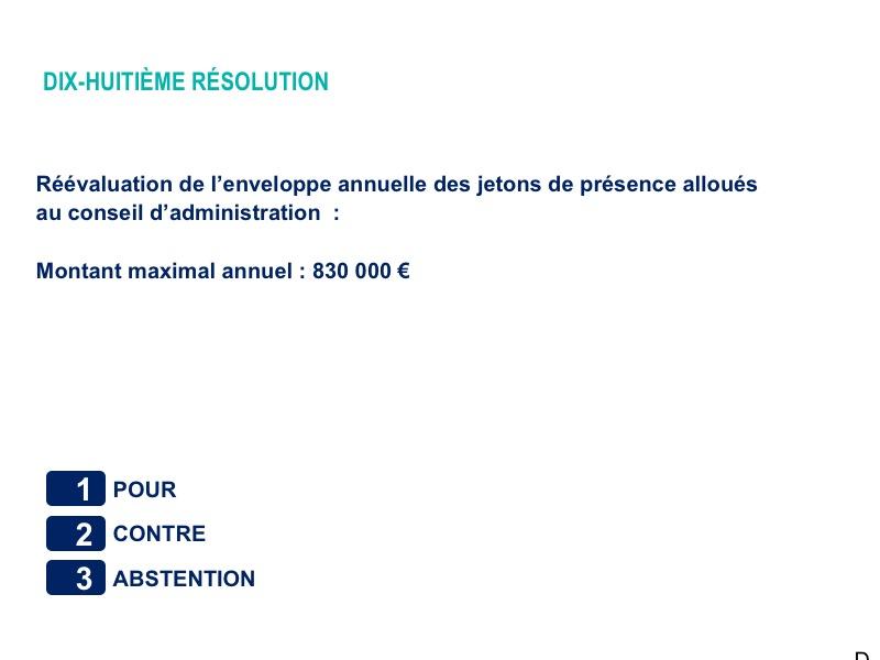 Dix-huitième résolution<br>Réévaluation de l'enveloppe annuelle des jetons de présence alloués au conseil d'administration