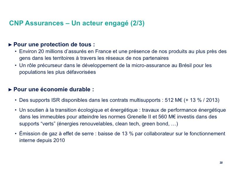 CNP Assurances – Un acteur engagé (2/3)