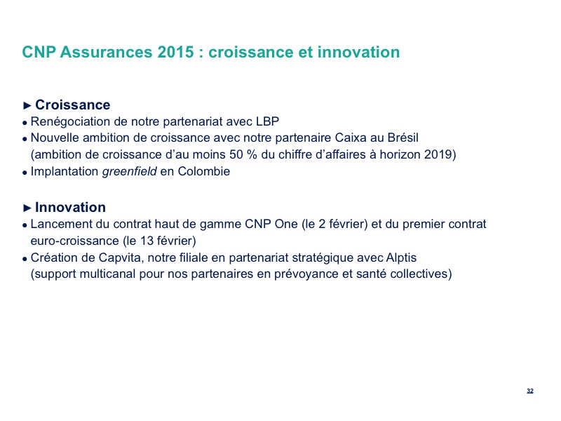 CNP Assurances 2015 : croissance et innovation