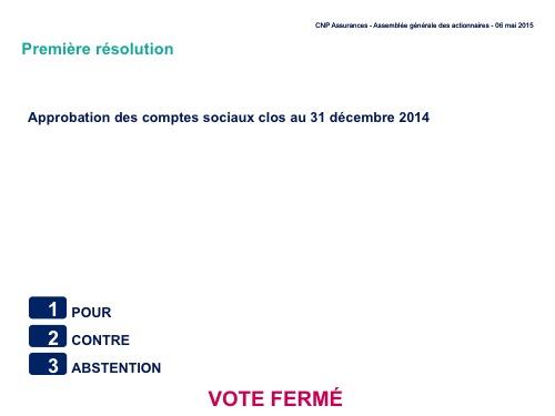 Première résolution<br>Approbation des comptes sociaux clos au 31 décembre 2014