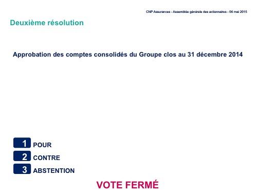 Deuxième résolution<br>Approbation des comptes consolidés du Groupe clos au 31 décembre 2014