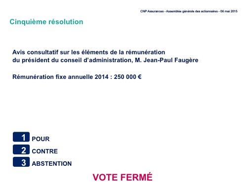 Cinquième résolution<br>Avis consultatif sur les éléments de la rémunération du président du conseil d'administration, M. Jean-Paul Faugère