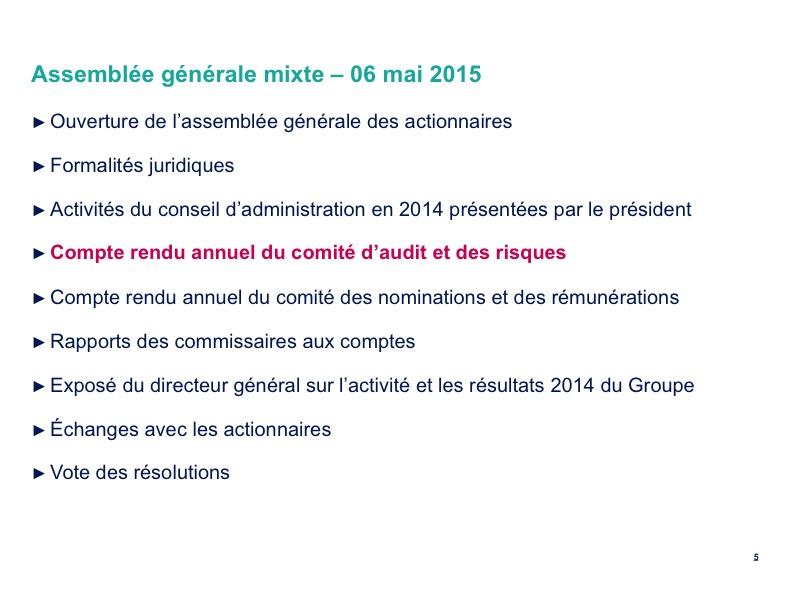 <b>Compte rendu annuel du comité d'audit et des risques</b>