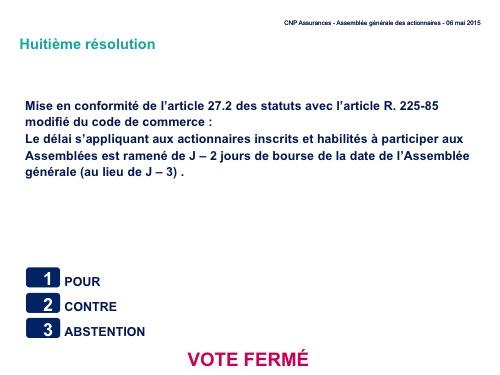 Huitième résolution<br>Mise en conformité de l'article 27.2 des statuts avec l'article R. 225-85 modifié du code de commerce