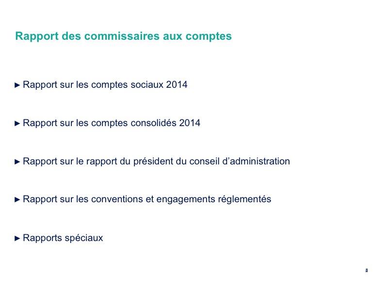 Rapports des commissaires aux comptes<br>Détails
