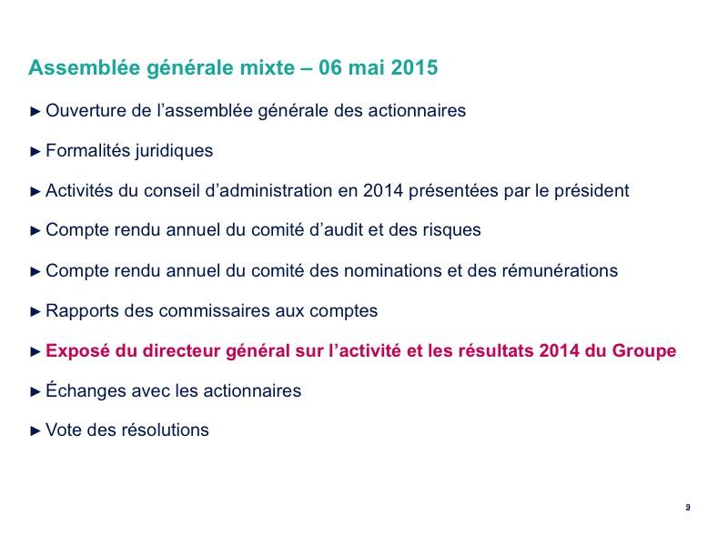 <b>Activité et résultats 2014 du Groupe</b>