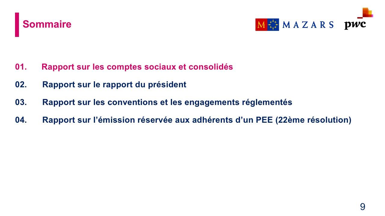 Rapport sur les comptes sociaux et consolidés (1)