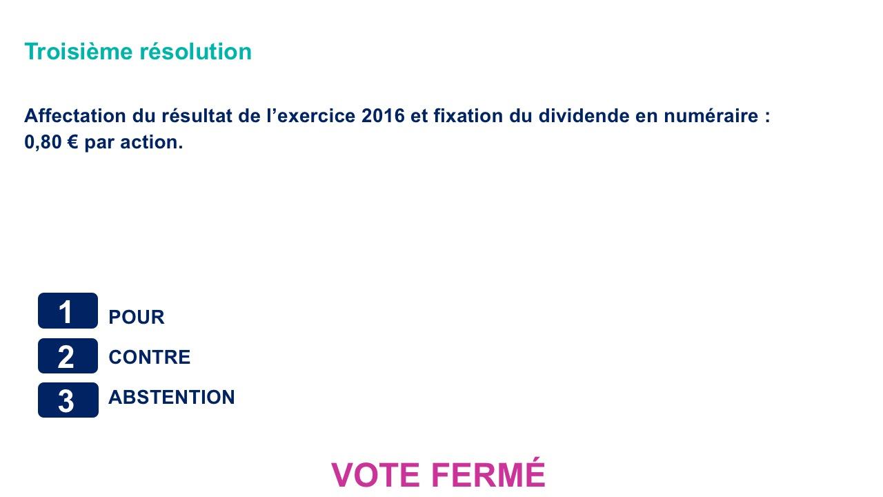 Troisième résolution<br>Affectation du résultat de l'exercice 2016 et fixation du dividende en numéraire