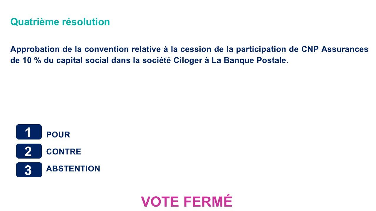 Quatrième résolution<br>Approbation de la convention relative à la cession de la participation de CNP Assurances de 10 % du capital social dans la société Ciloger à La Banque Postale.
