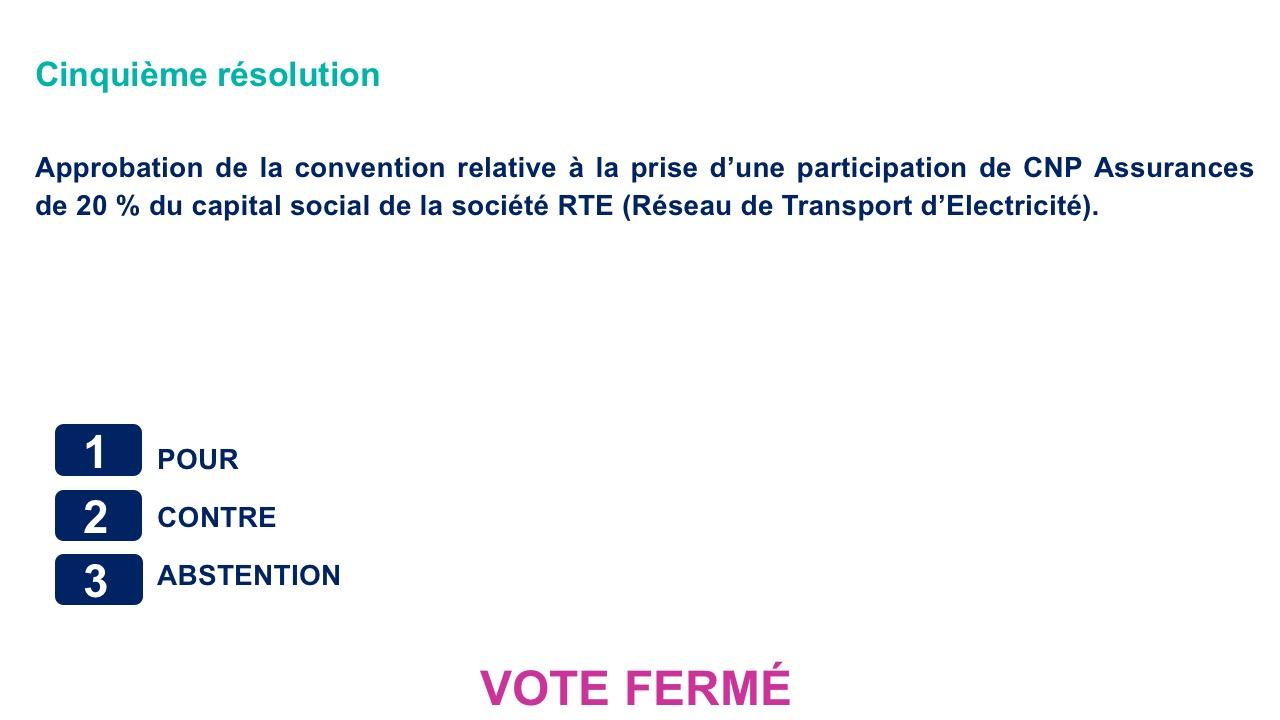 Cinquième résolution<br>Approbation de la convention relative à la prise d'une participation de CNP Assurances de 20 % du capital social de la société RTE (Réseau de Transport d'Electricité).