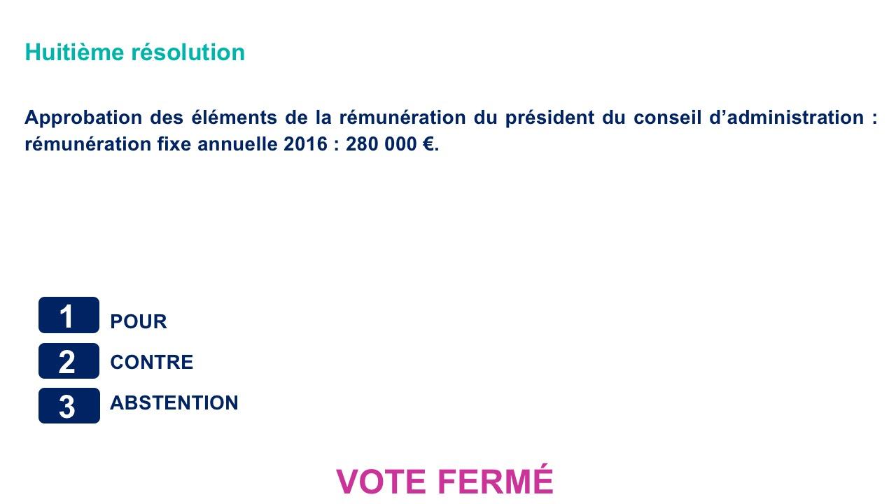 Huitième résolution<br>Approbation des éléments de la rémunération du président du conseil d'administration