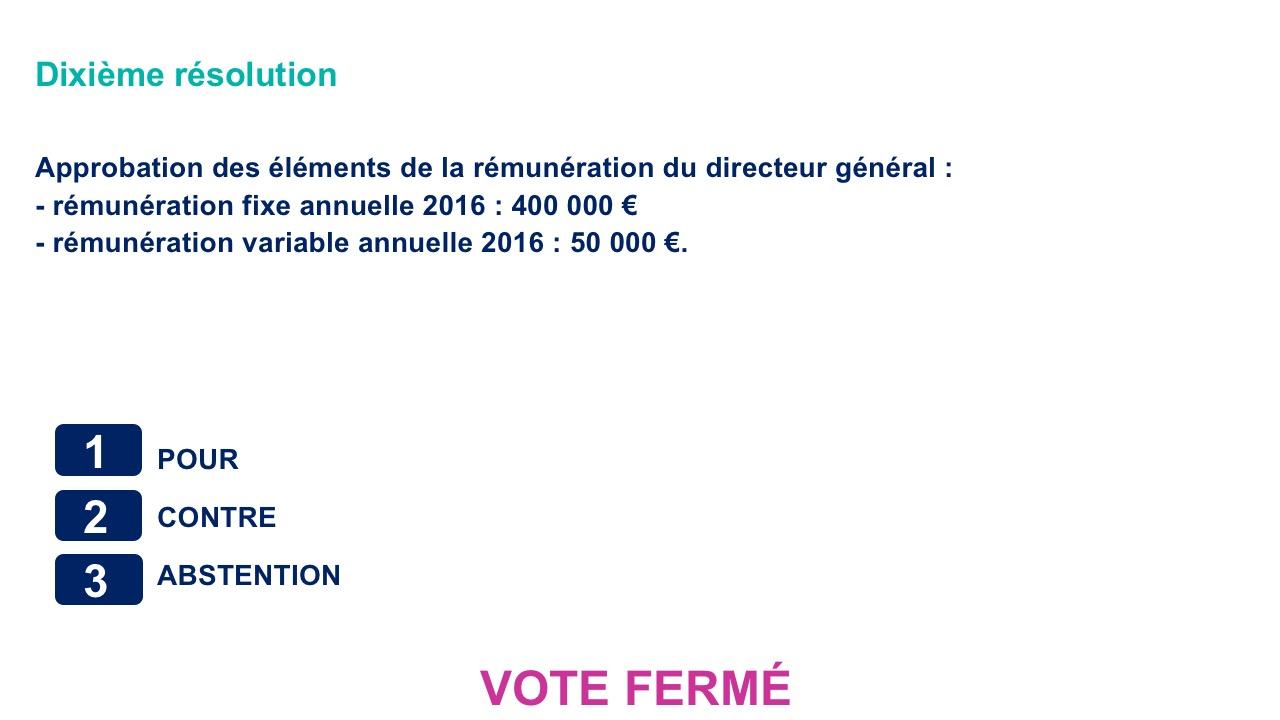 Dixième résolution<br>Approbation des éléments de la rémunération du directeur général