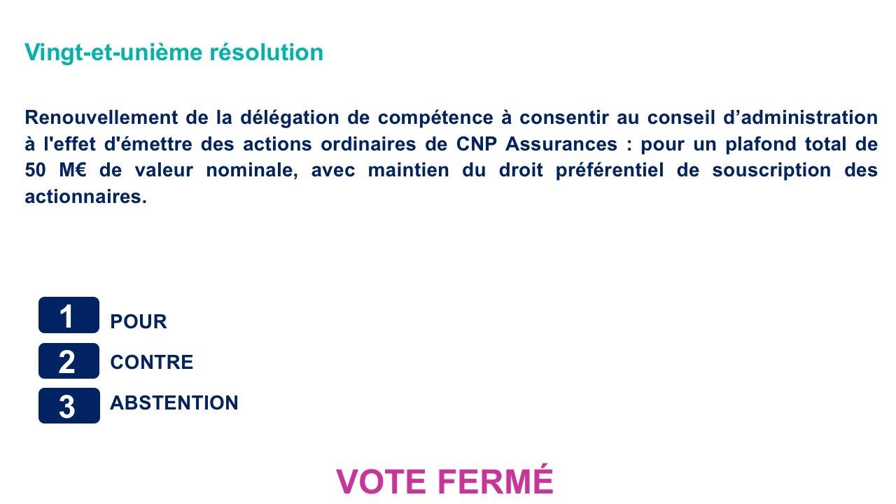 Vingt-et-unième résolution<br>Renouvellement de la délégation de compétence à consentir au conseil d'administration à l'effet d'émettre des actions ordinaires de CNP Assurances