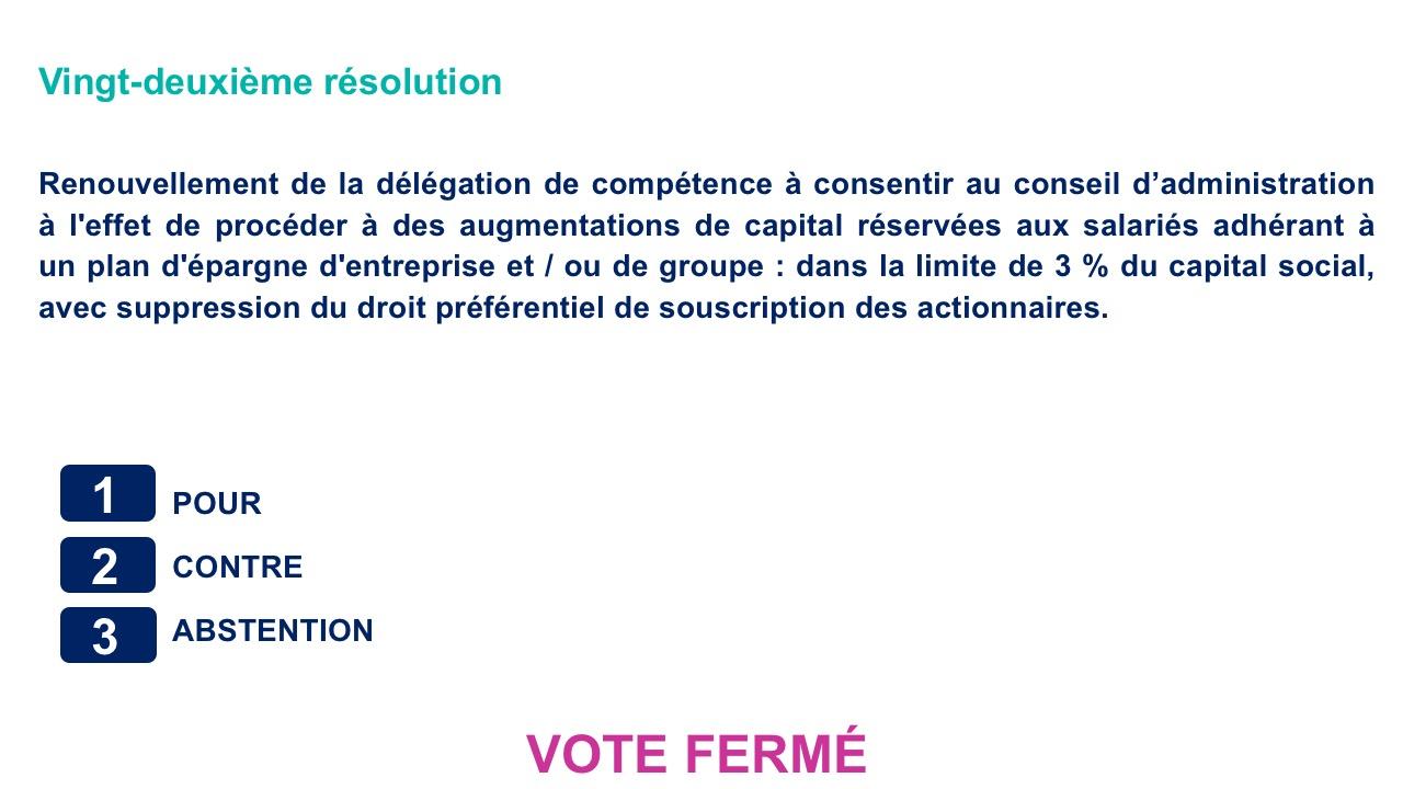 Vingt-deuxième résolution<br>Renouvellement de la délégation de compétence à consentir au conseil d'administration à l'effet de procéder à des augmentations de capital réservées aux salariés adhérant à    un plan d'épargne d'entreprise et / ou de groupe
