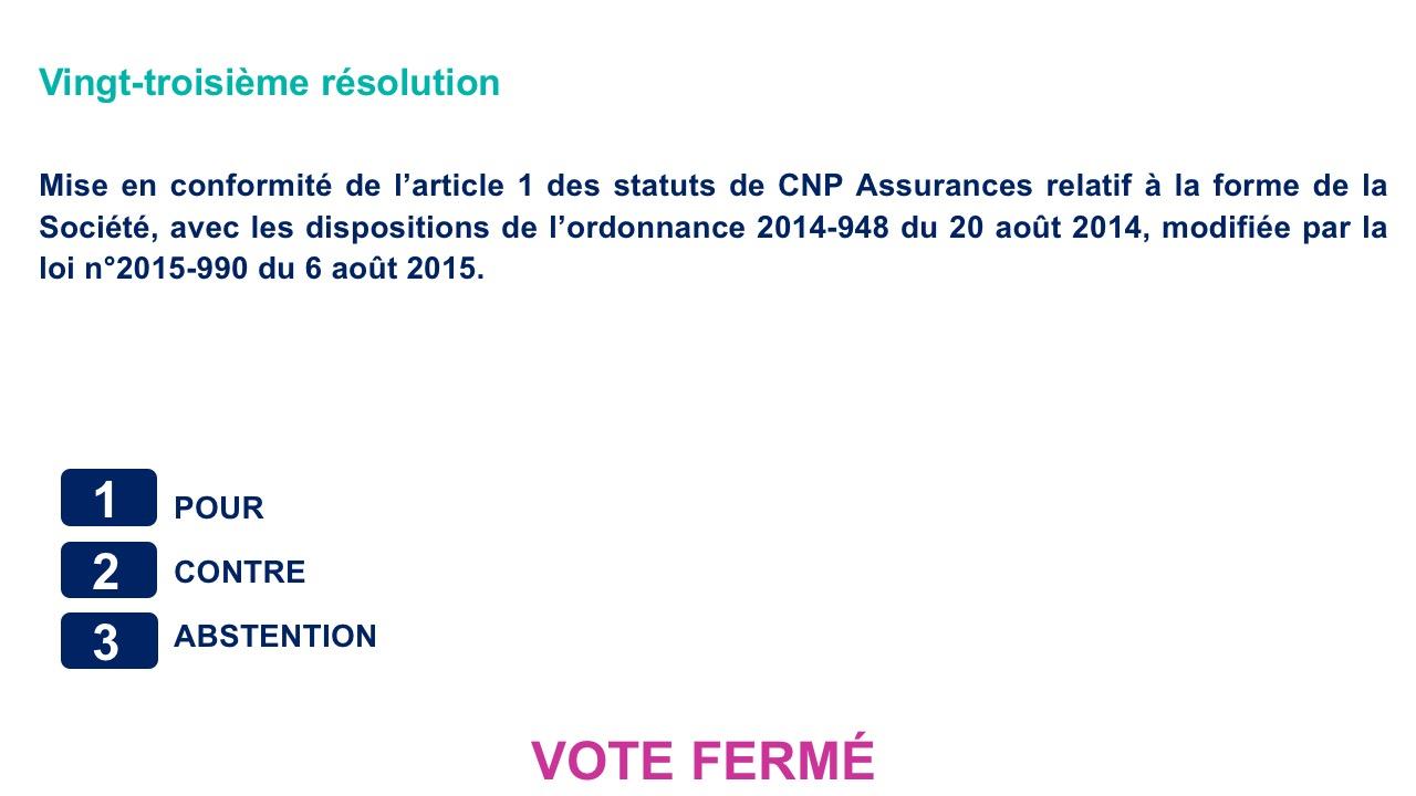 Vingt-troisième résolution<br>Mise en conformité de l'article 1 des statuts de CNP Assurances relatif à la forme de la Société, avec les dispositions de l'ordonnance 2014-948 du 20 août 2014, modifiée par la loi n°2015-990 du 6 août 2015.