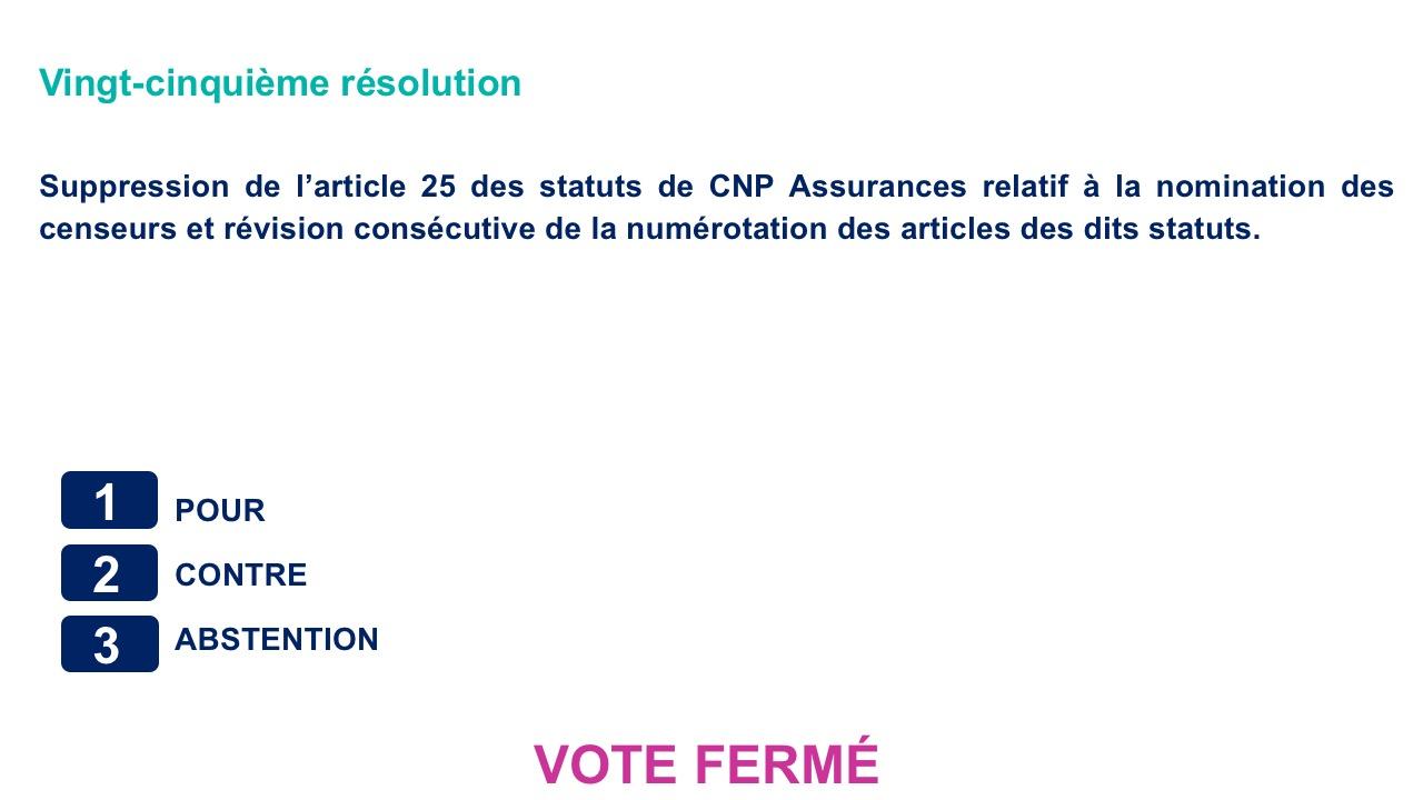 Vingt-cinquième résolution<br>Suppression de l'article 25 des statuts de CNP Assurances relatif à la nomination des censeurs et révision consécutive de la numérotation des articles des dits statuts.