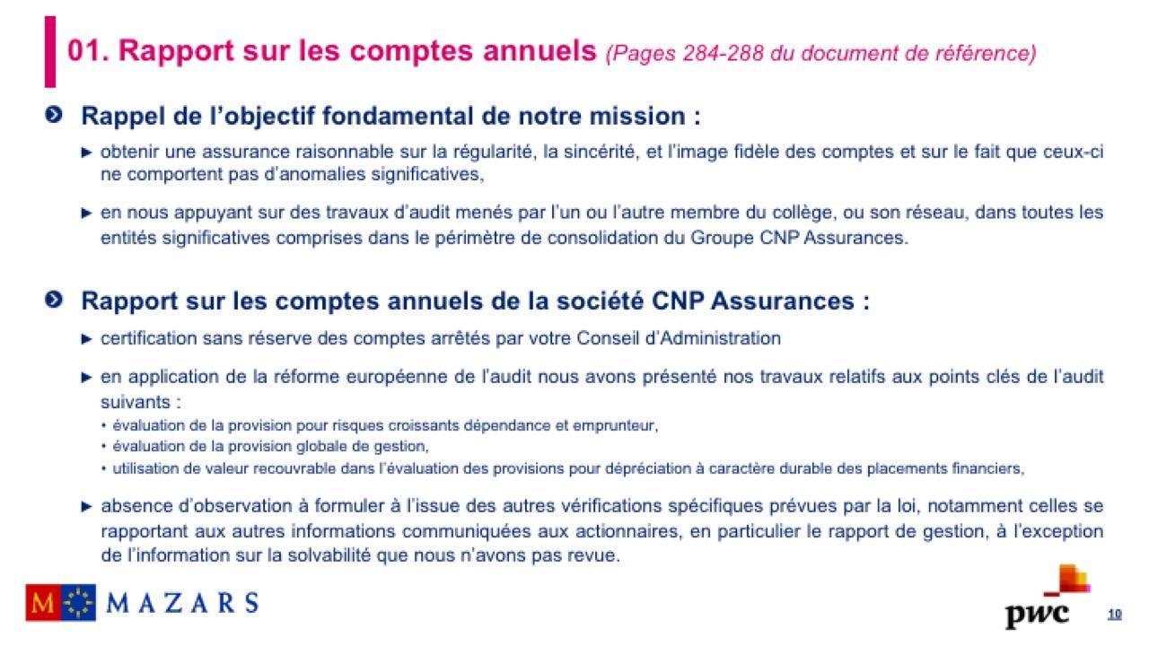 Rapport sur les comptes annuels (2)
