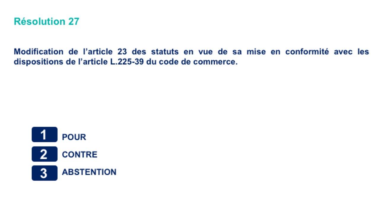 Vingt-septième résolution<br>Modification de l'article23 des statuts en vue de sa mise en conformité