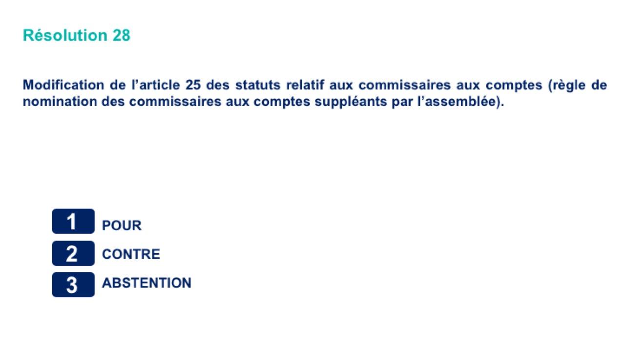Vingt-huitième résolution<br>Modification de l'article 25 des statuts relatif aux commissaires aux comptes