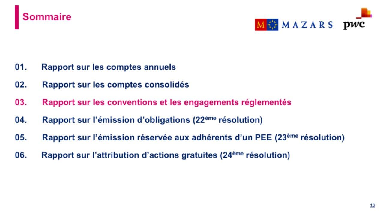 Rapport sur les conventions et les engagements réglementés (1)