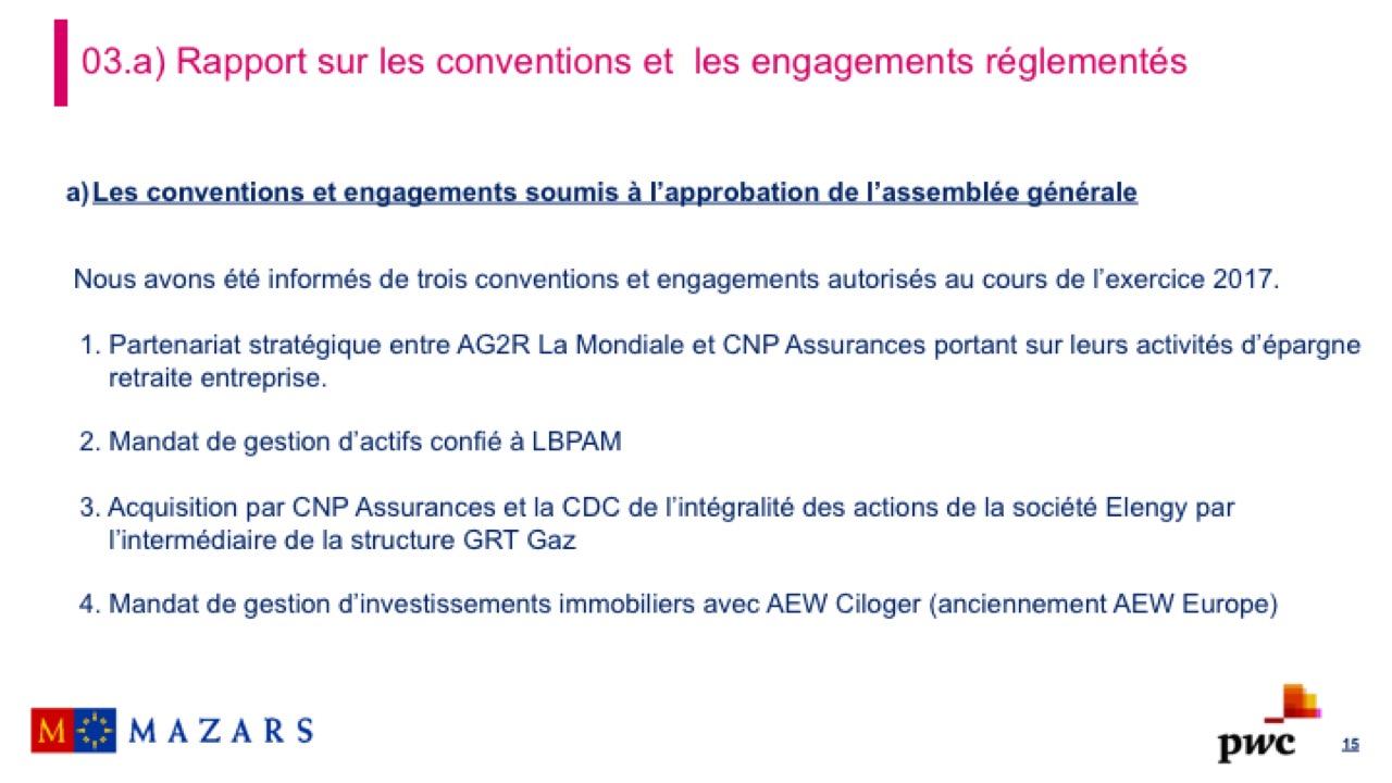 Rapport sur les conventions et les engagements réglementés (3)