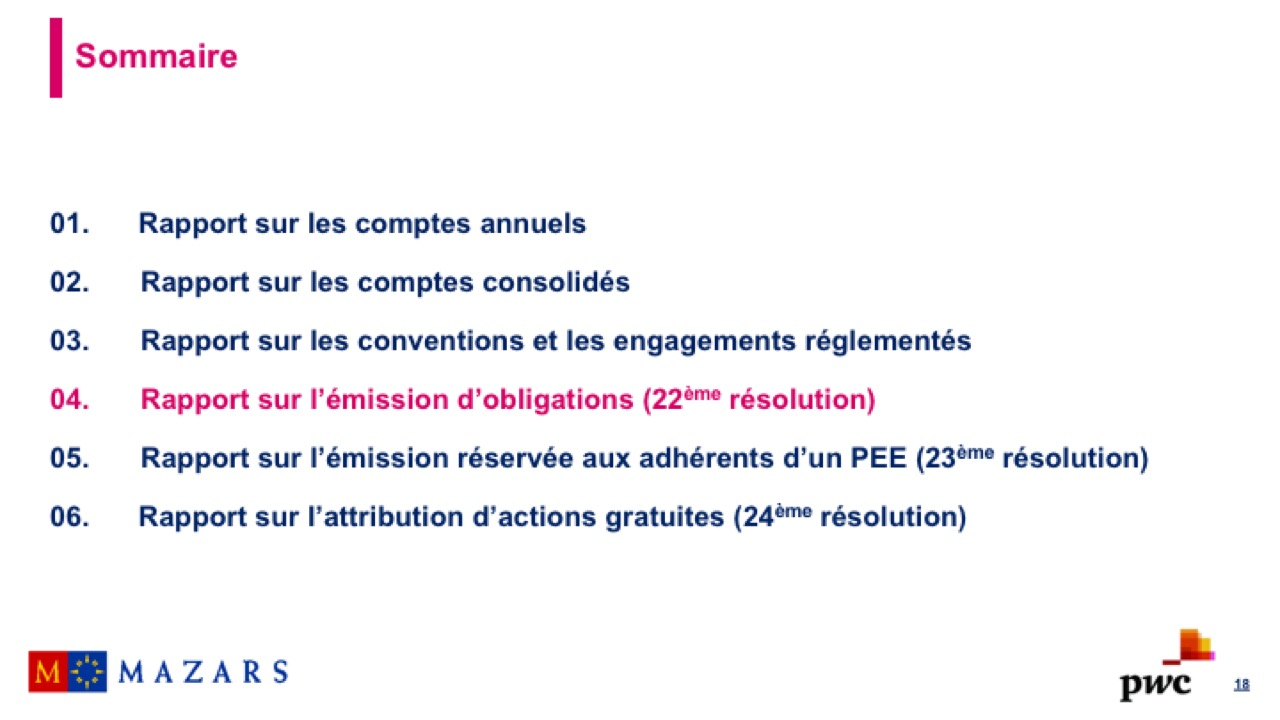 Rapport sur l'émission d'obligations (1)
