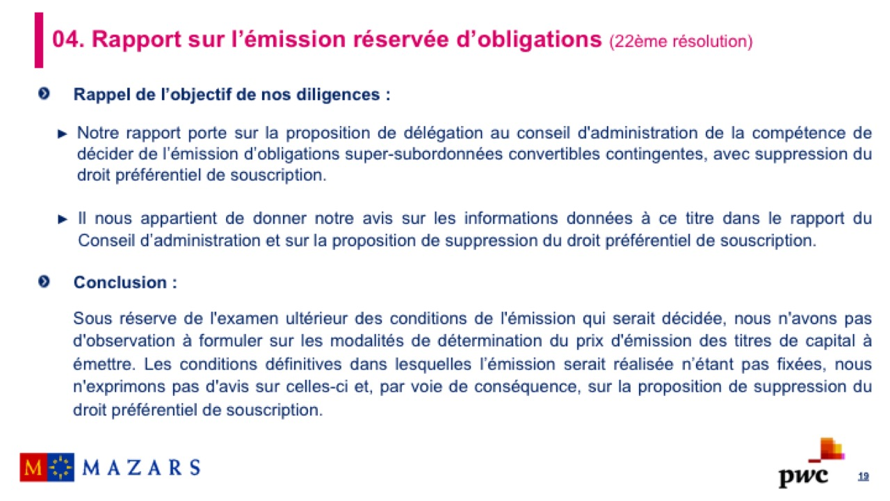 Rapport sur l'émission d'obligations (2)