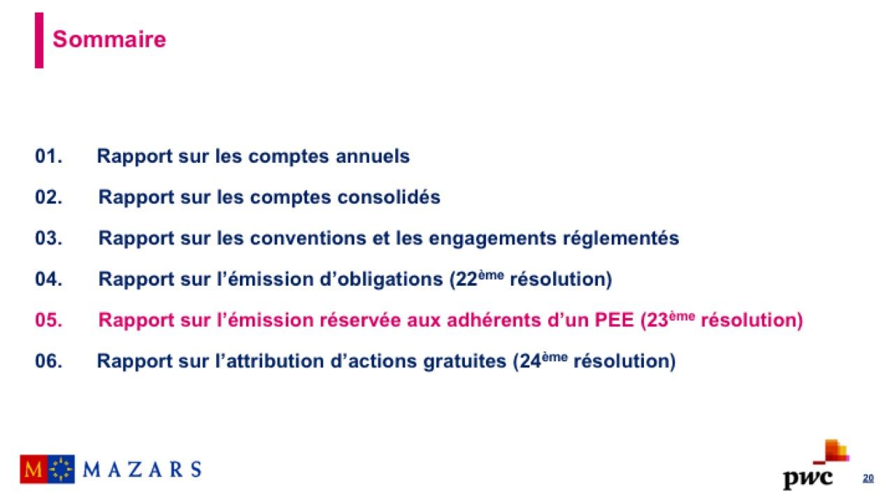 Rapport sur l'émission réservée aux adhérents d'un PEE (1)
