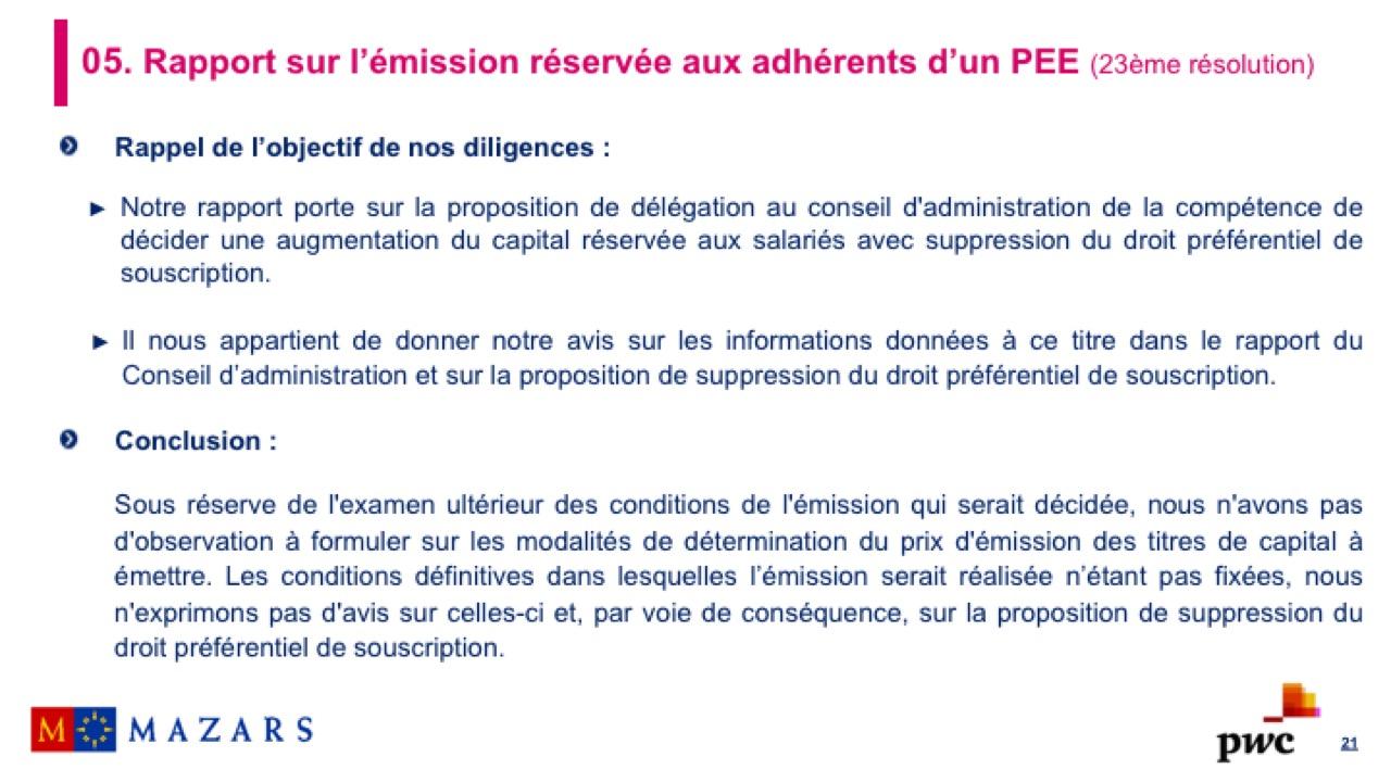 Rapport sur l'émission réservée aux adhérents d'un PEE (2)