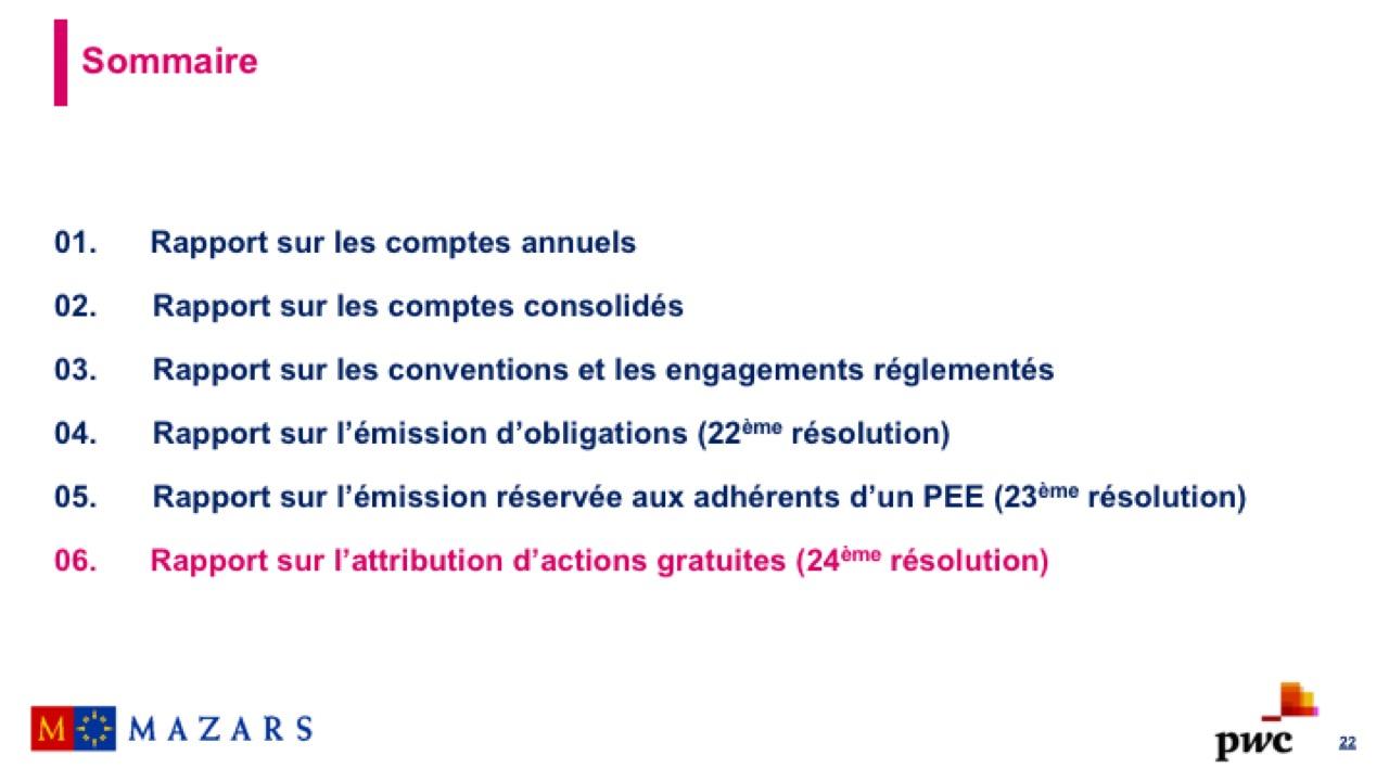 Rapport sur l'attribution d'actions gratuites (1)