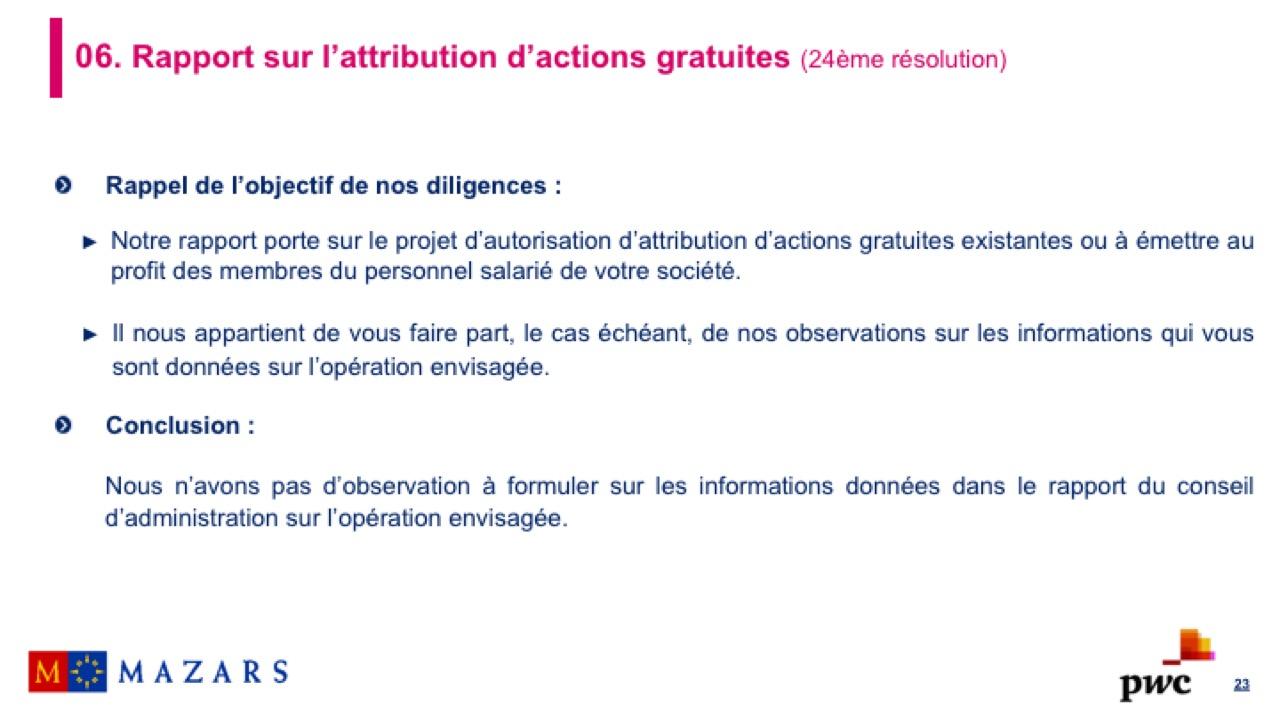 Rapport sur l'attribution d'actions gratuites (2)