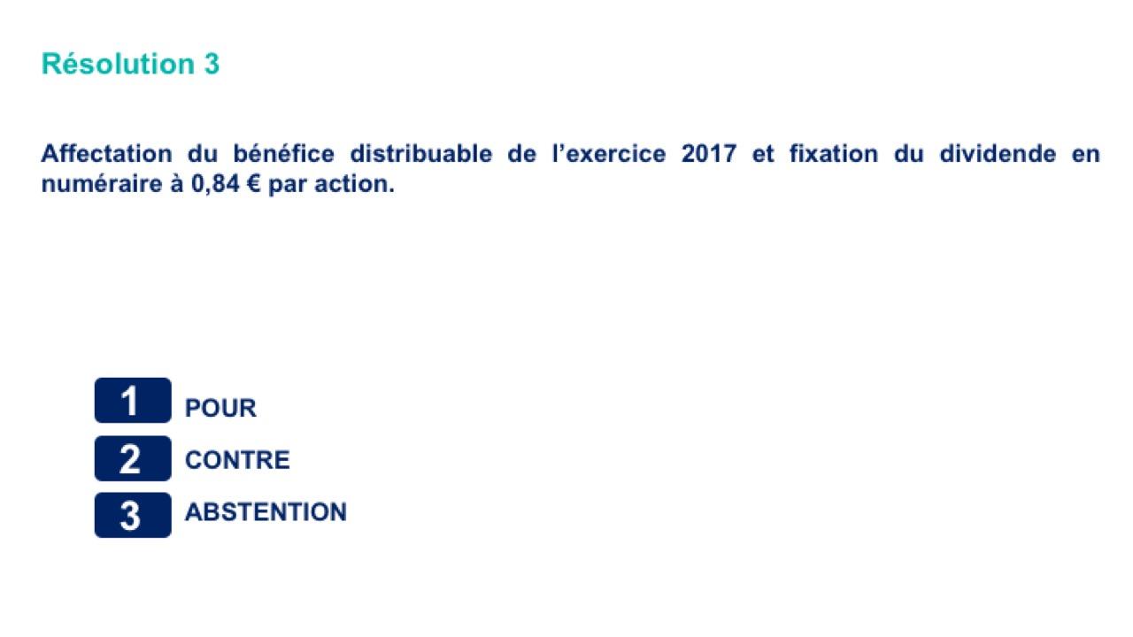 Troisième résolution<br>Affectation du bénéfice distribuable de l'exercice 2017 et fixation du dividende en numéraire