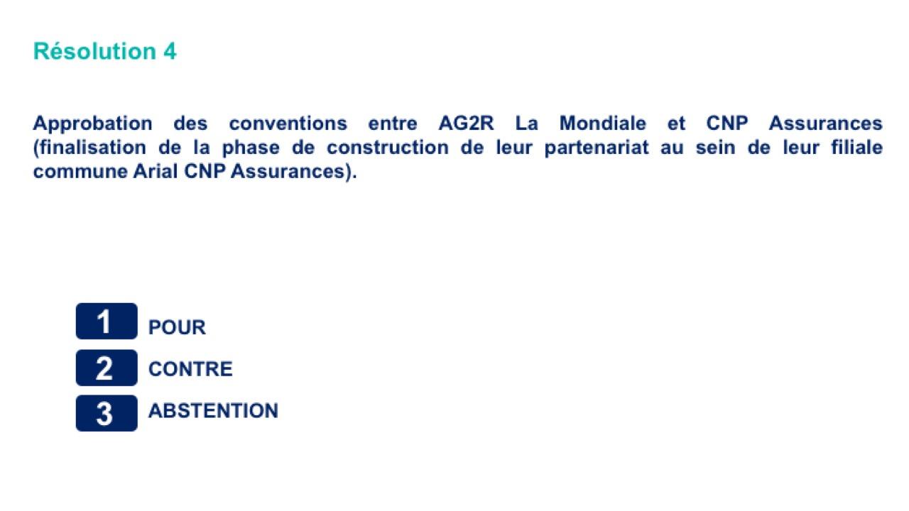 Quatrième résolution<br>Approbation des conventions entre AG2R La Mondiale et CNP Assurances