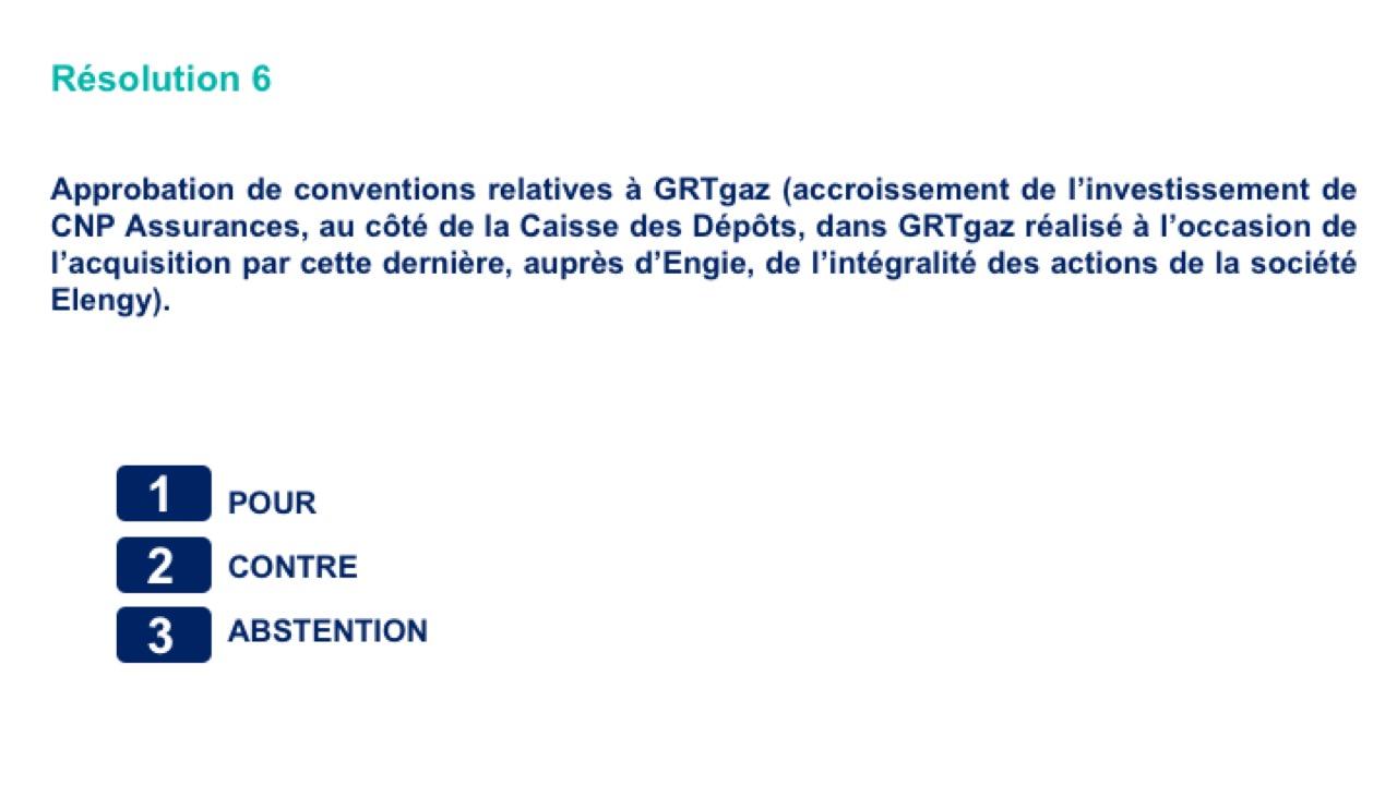 Sixième résolution<br>Approbation de conventions relatives à GRTgaz