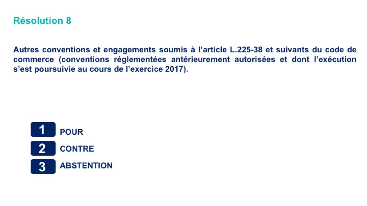 Huitième résolution<br>Autres conventions et engagements soumis à l'article L.225-38 et suivants du code de commerce