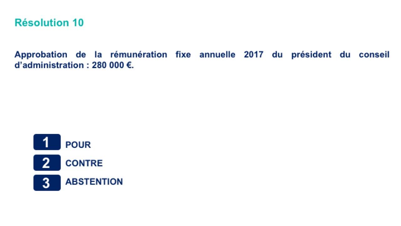Dixième résolution<br>Approbation de la rémunération fixe annuelle 2017 du président du conseil d'administration