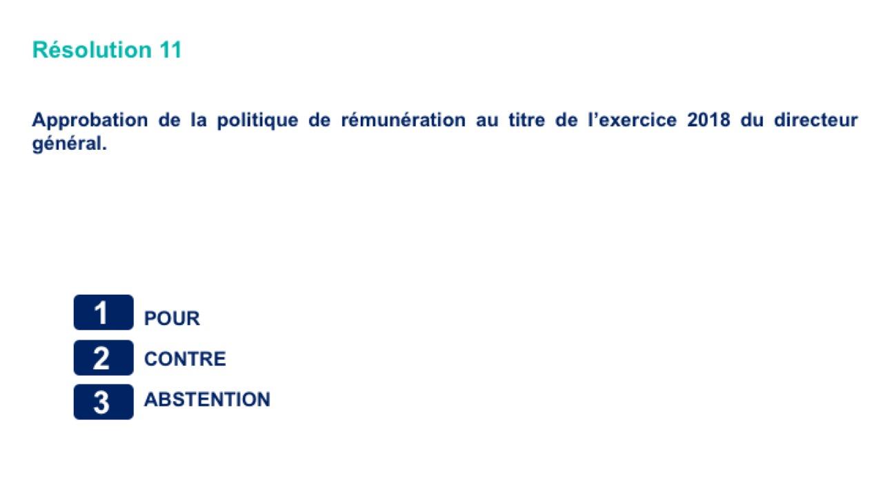 Onzième résolution<br>Approbation de la politique de rémunération au titre de l'exercice 2018 du directeur général