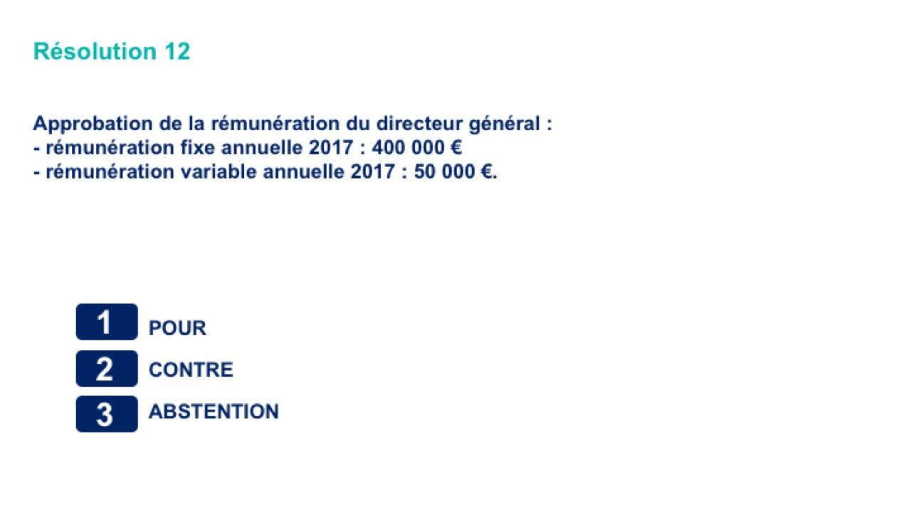 Douzième résolution<br>Approbation de la rémunération du directeur généra