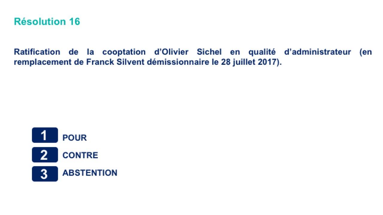 Seizième résolution<br>Ratification de la cooptation d'Olivier Sichel en qualité d'administrateur