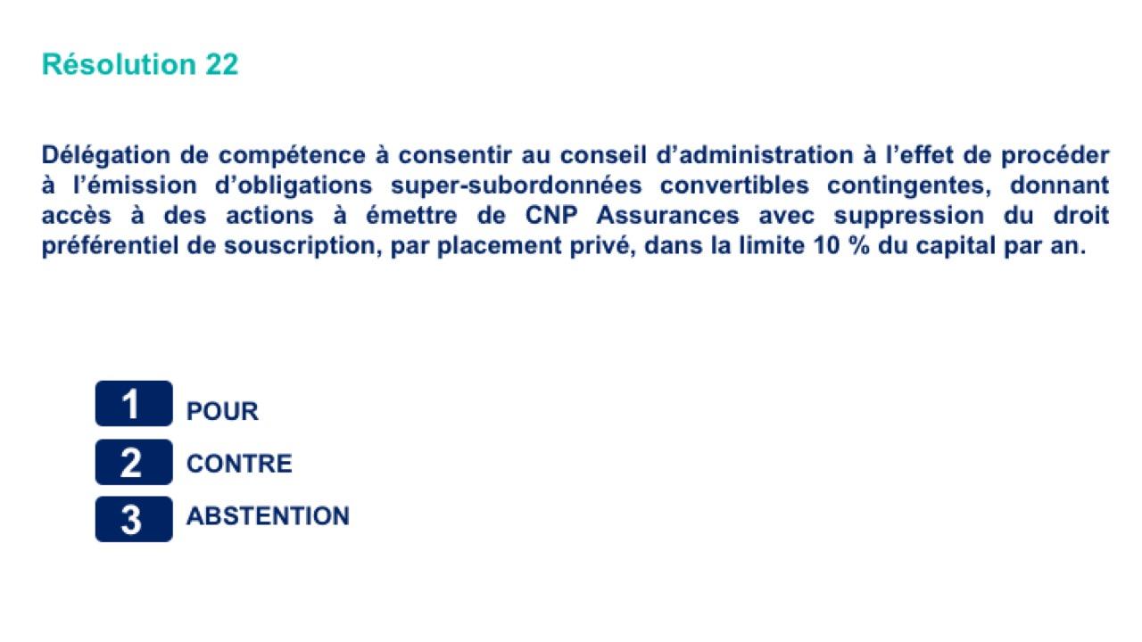 Vingt-deuxième résolution<br>Délégation de compétence à consentir au conseil d'administration à l'effet de procéder à l'émission d'obligations super-subordonnées convertibles contingentes