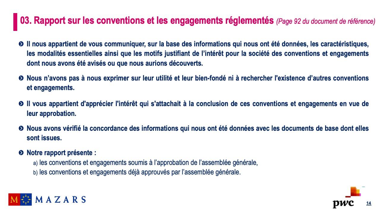 Rapport sur les conventions et les engagements réglementés (2)