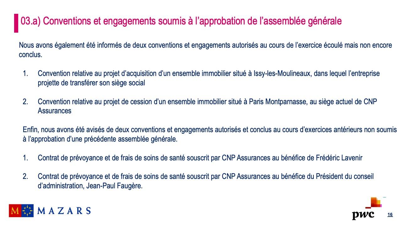 Rapport sur les conventions et les engagements réglementés (4)
