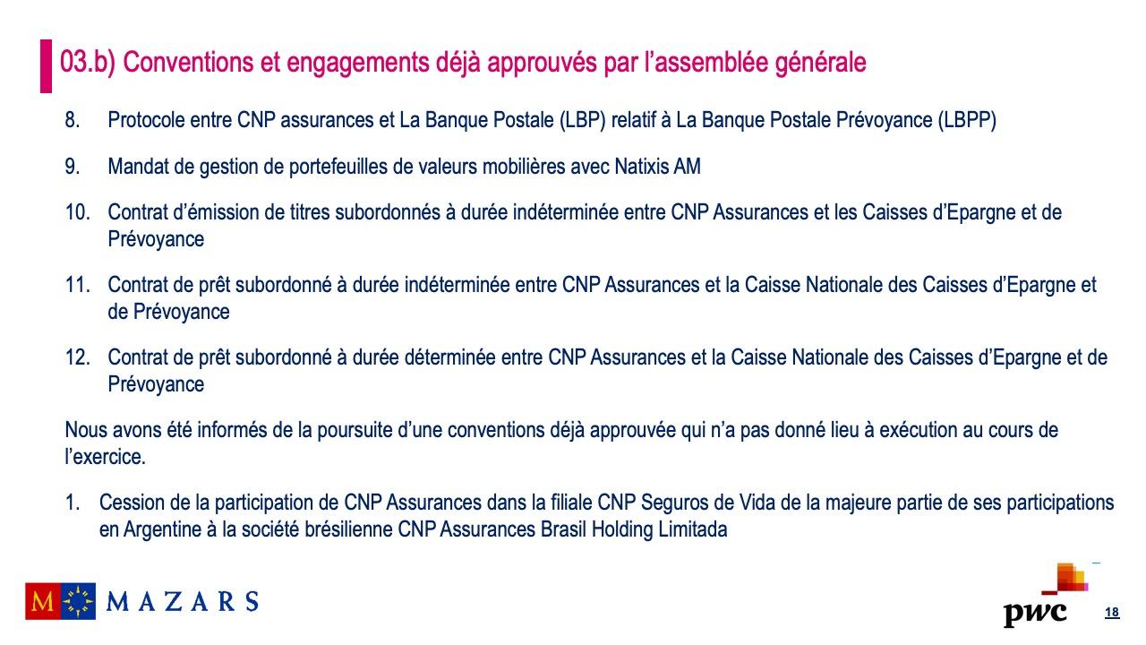Rapport sur les conventions et les engagements réglementés (6)