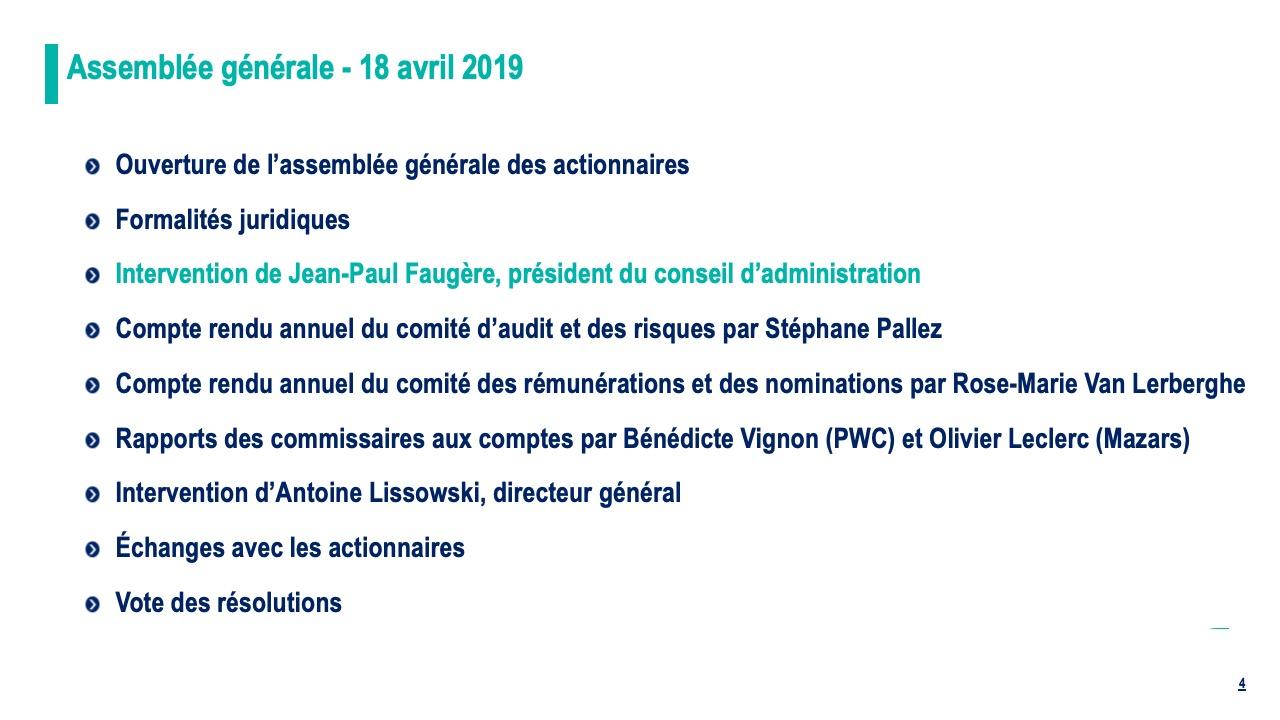 Intervention de Jean-Paul Faugère, président du conseil d'administration