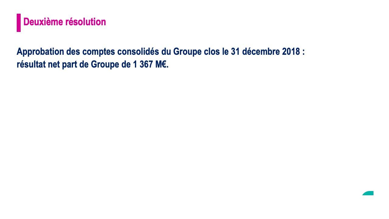 Deuxième résolution<br>Approbation des comptes consolidés du Groupe clos le 31 décembre 2018