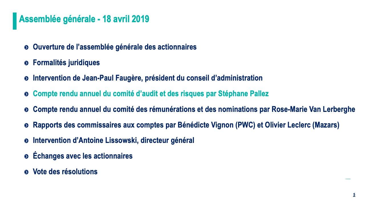 Compte rendu annuel du comité d'audit et des risques par Stéphane Pallez