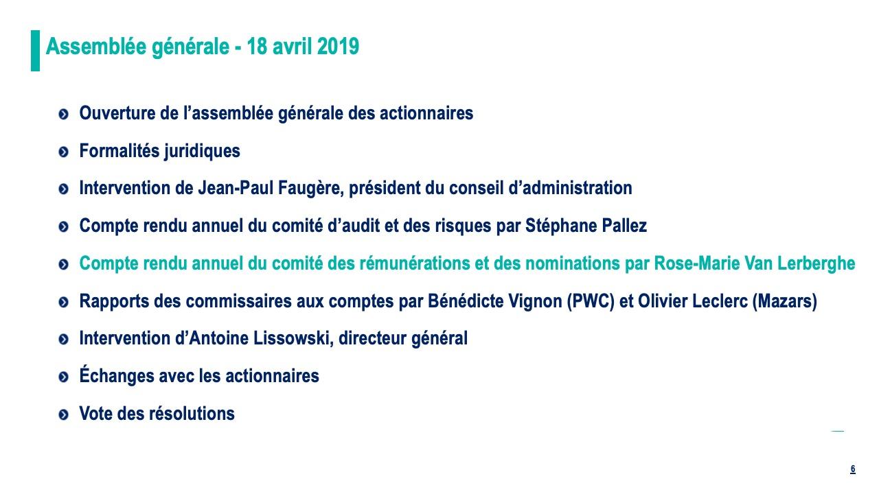 Compte rendu annuel du comité des nominations et des rémunérations par Rose-Marie Van Lerberghe